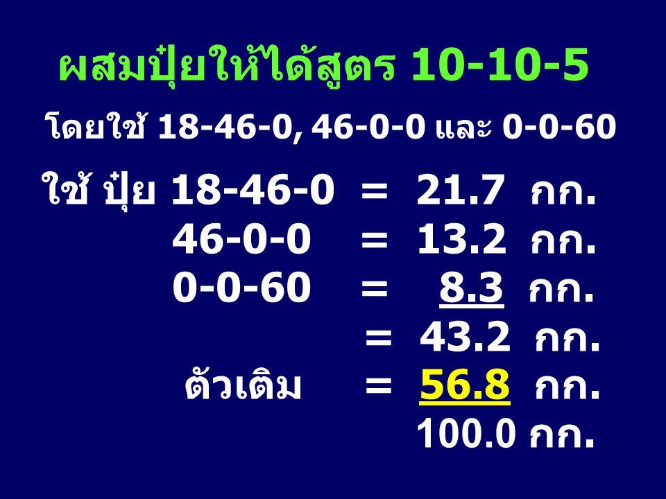 ผสมปุ๋ยให้ได้สูตร 10-10-5 โดยใช้ 18-46-0, 46-0-0 และ 0-0-60