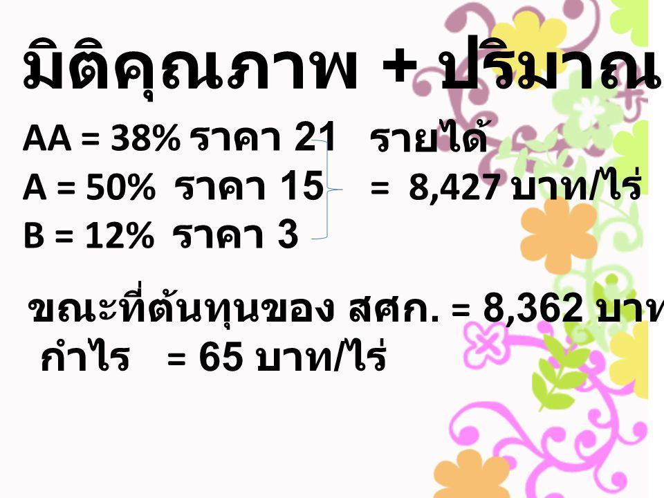 มิติคุณภาพ + ปริมาณ AA = 38% ราคา 21 A = 50% ราคา 15 B = 12% ราคา 3