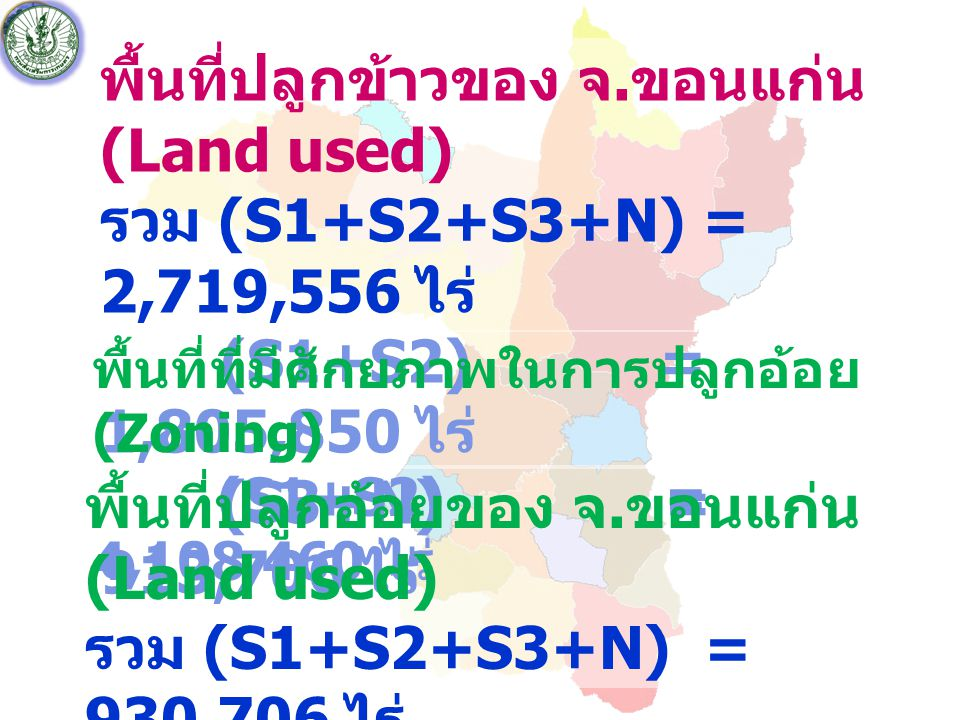 พื้นที่ปลูกข้าวของ จ.ขอนแก่น (Land used)