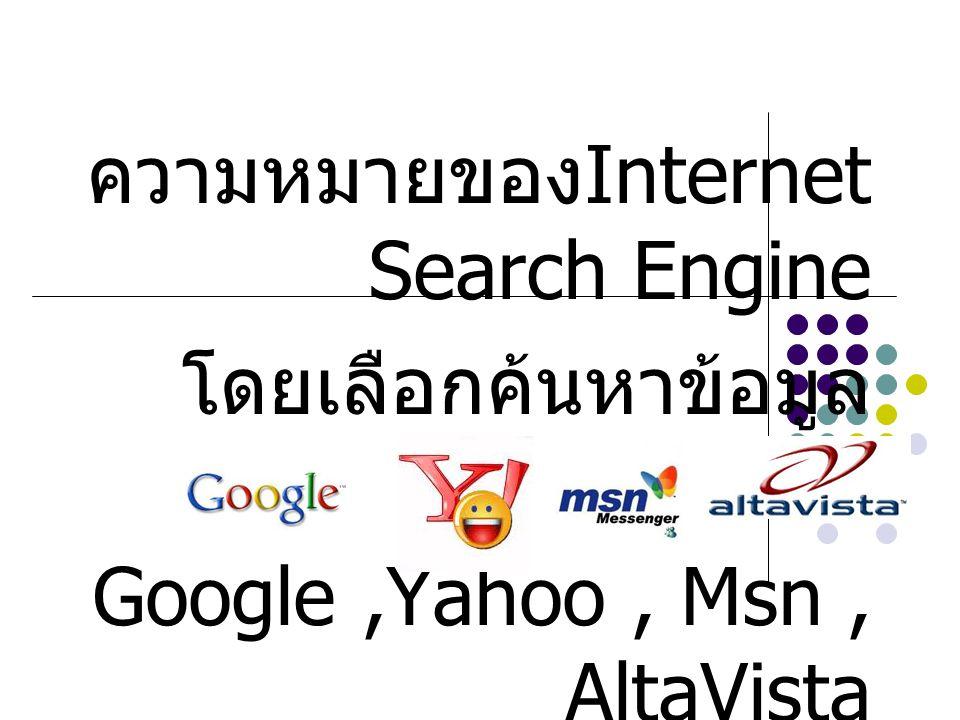 ความหมายของInternet Search Engine