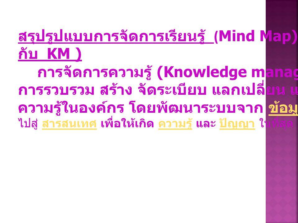สรุปรูปแบบการจัดการเรียนรู้ (Mind Map)(เกี่ยวข้องอย่างไร กับ KM )
