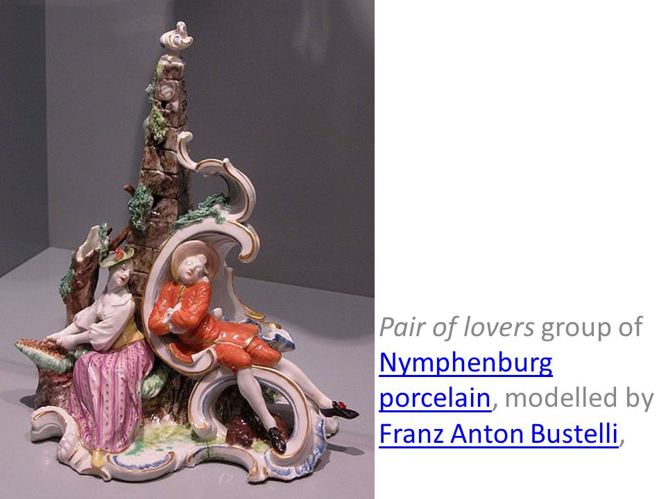 Pair of lovers group of Nymphenburg porcelain, modelled by Franz Anton Bustelli,