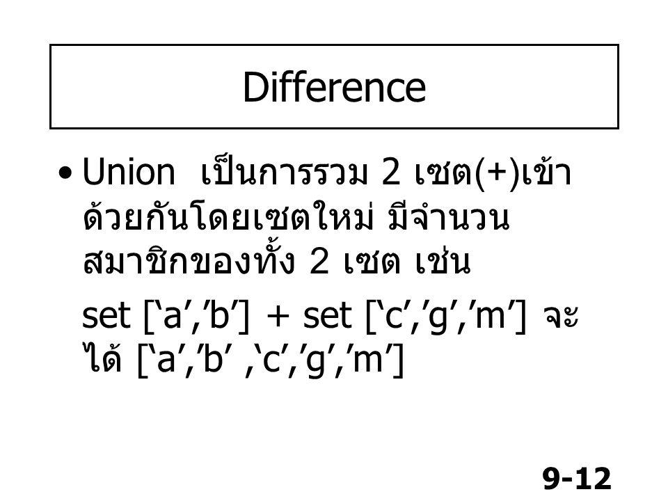 Difference Union เป็นการรวม 2 เซต(+)เข้าด้วยกันโดยเซตใหม่ มีจำนวนสมาชิกของทั้ง 2 เซต เช่น.