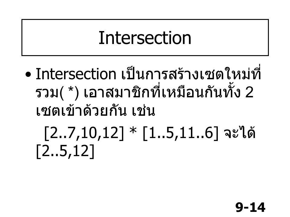 Intersection Intersection เป็นการสร้างเซตใหม่ที่รวม( *) เอาสมาชิกที่เหมือนกันทั้ง 2 เซตเข้าด้วยกัน เช่น.