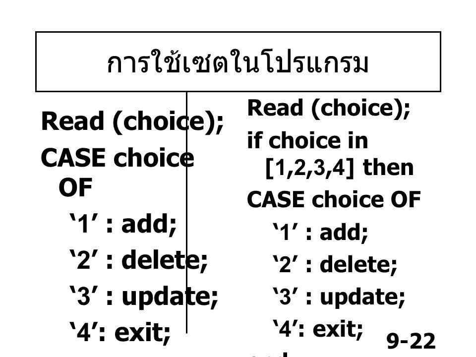 การใช้เซตในโปรแกรม Read (choice); CASE choice OF '1' : add;