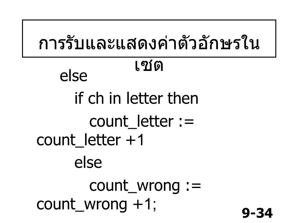 การรับและแสดงค่าตัวอักษรในเซต
