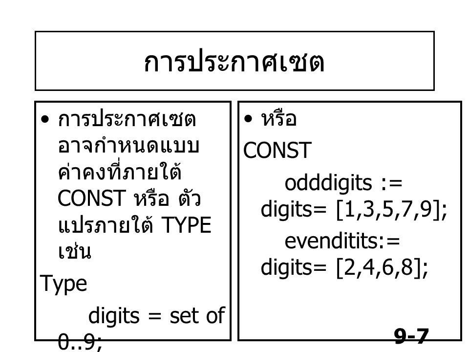 การประกาศเซต การประกาศเซต อาจกำหนดแบบค่าคงที่ภายใต้ CONST หรือ ตัวแปรภายใต้ TYPE เช่น. Type. digits = set of 0..9;