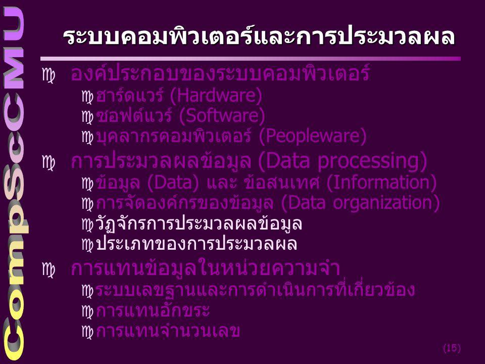 ระบบคอมพิวเตอร์และการประมวลผล
