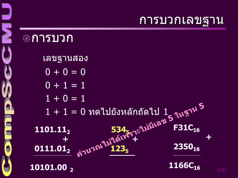 การบวกเลขฐาน การบวก เลขฐานสอง 0 + 0 = 0 0 + 1 = 1 1 + 0 = 1