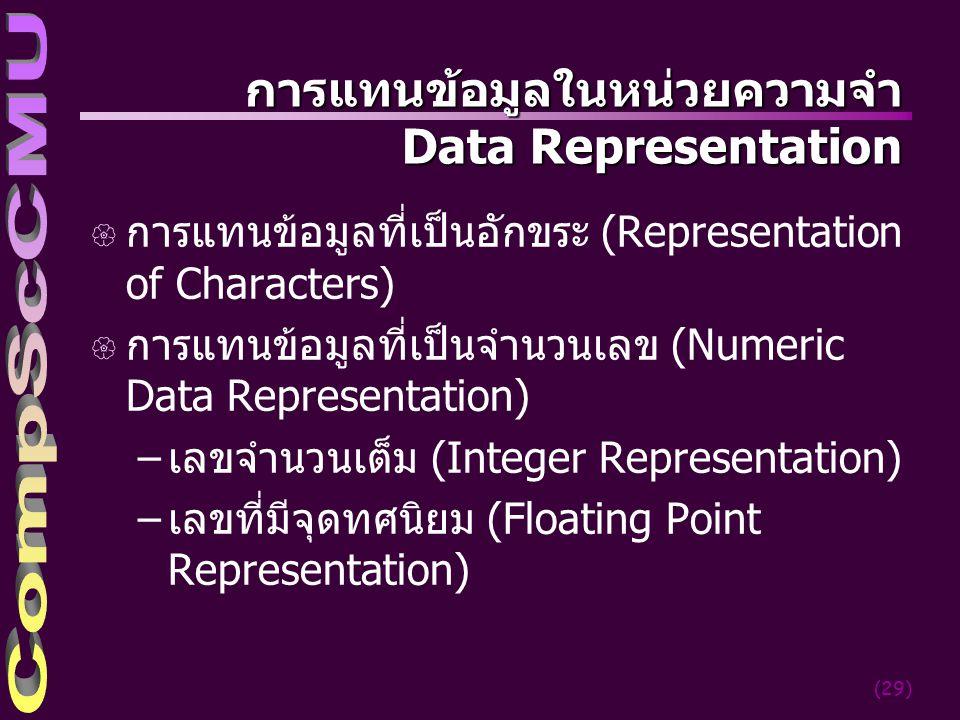 การแทนข้อมูลในหน่วยความจำ Data Representation