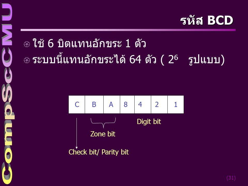 รหัส BCD ใช้ 6 บิตแทนอักขระ 1 ตัว