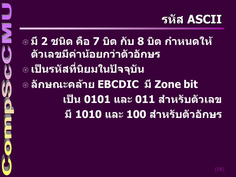4/5/2017 รหัส ASCII. มี 2 ชนิด คือ 7 บิต กับ 8 บิต กำหนดให้ตัวเลขมีค่าน้อยกว่าตัวอักษร. เป็นรหัสที่นิยมในปัจจุบัน.