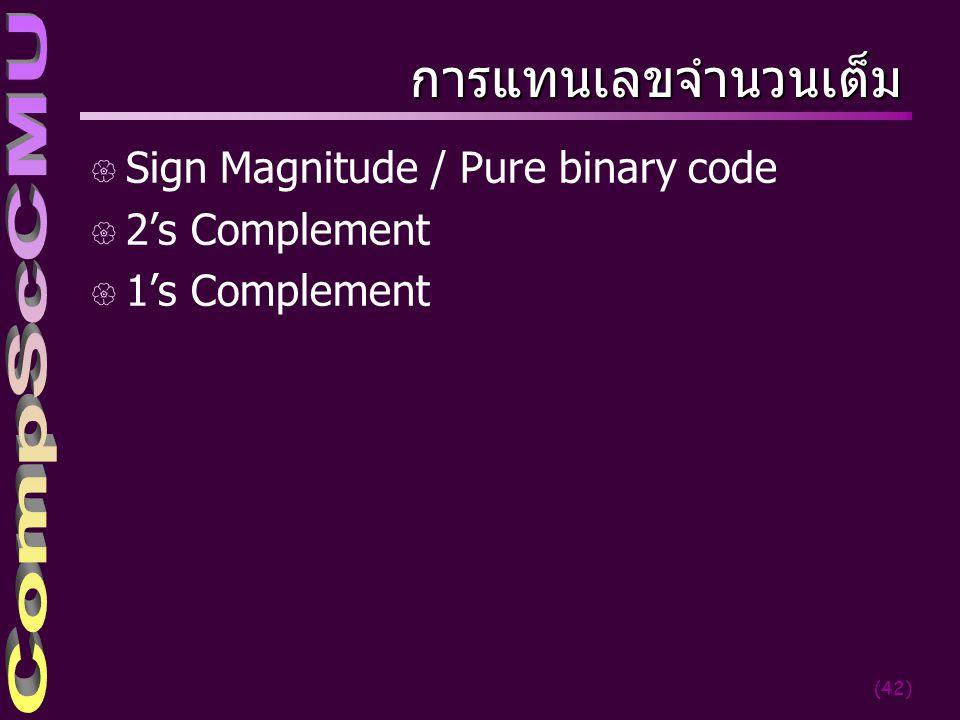 การแทนเลขจำนวนเต็ม Sign Magnitude / Pure binary code 2's Complement