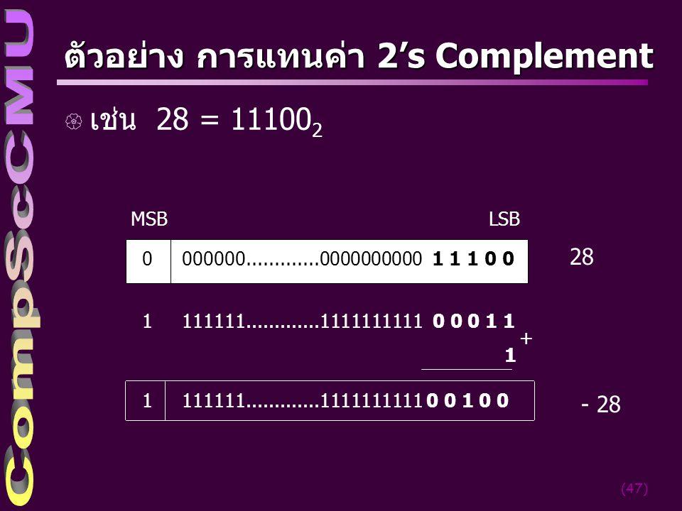 ตัวอย่าง การแทนค่า 2's Complement
