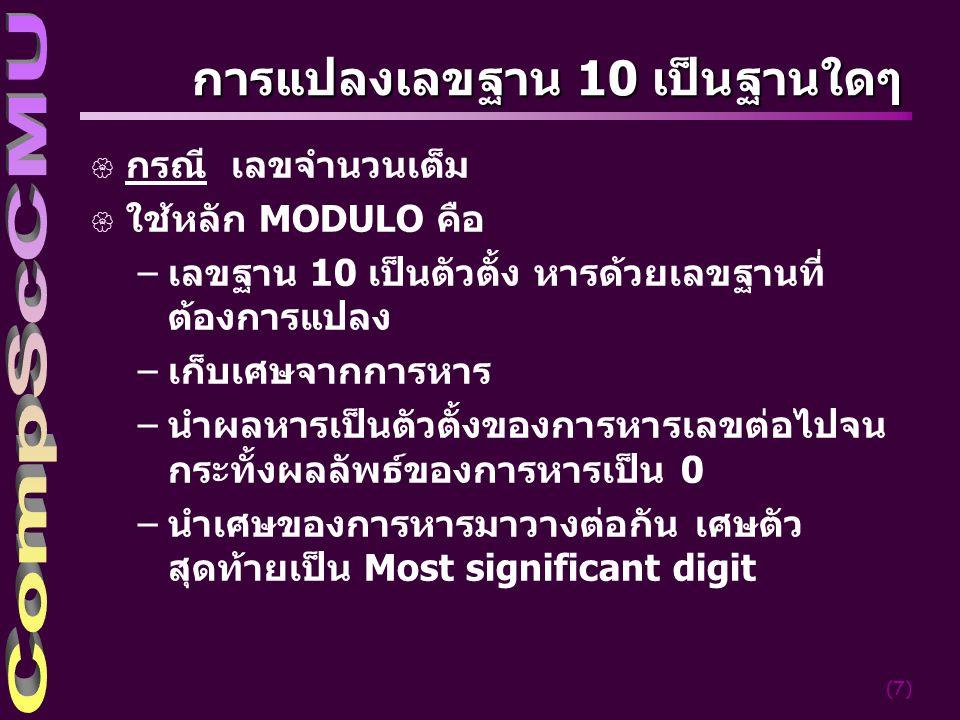 การแปลงเลขฐาน 10 เป็นฐานใดๆ