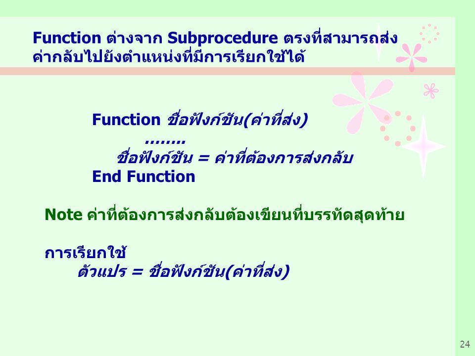 Function ต่างจาก Subprocedure ตรงที่สามารถส่ง