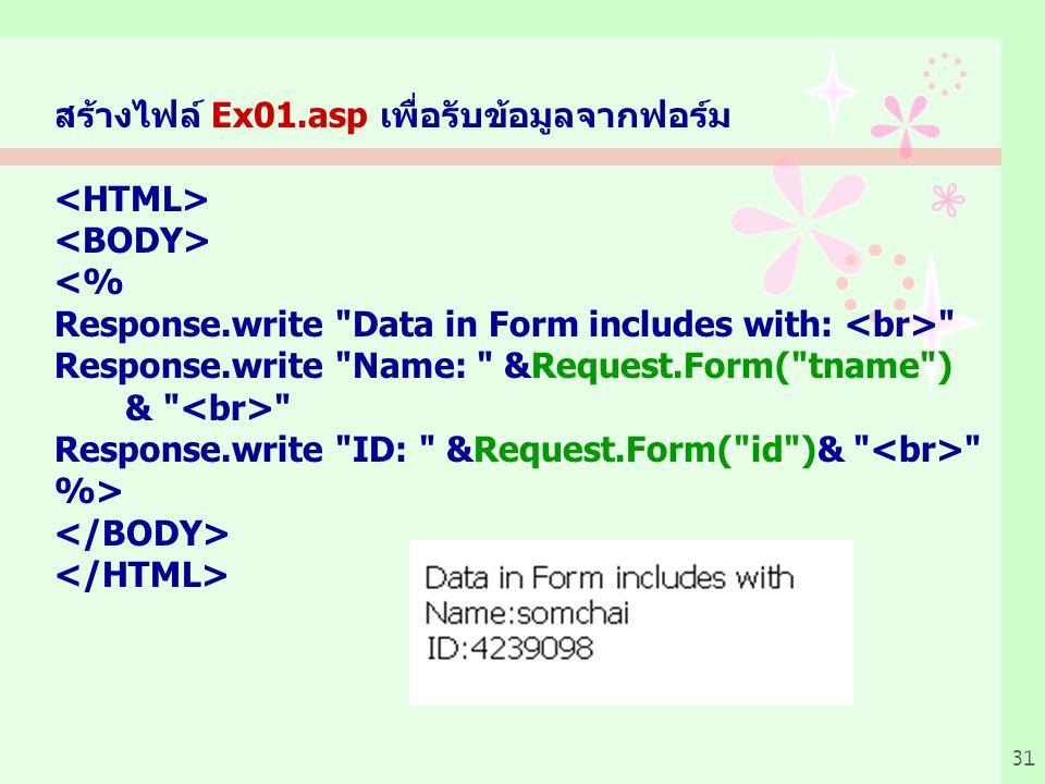 สร้างไฟล์ Ex01.asp เพื่อรับข้อมูลจากฟอร์ม
