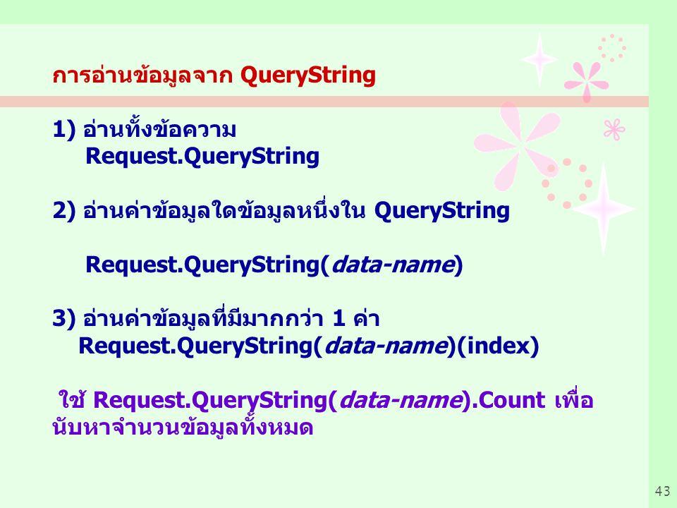 การอ่านข้อมูลจาก QueryString