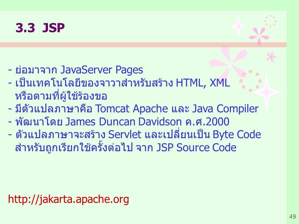3.3 JSP - ย่อมาจาก JavaServer Pages