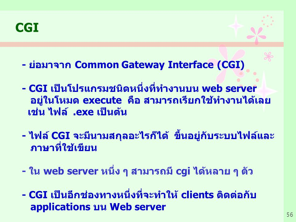 CGI - ย่อมาจาก Common Gateway Interface (CGI)