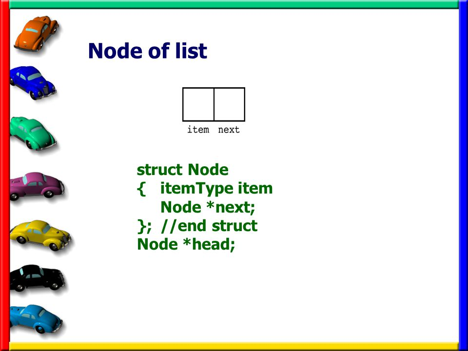 Node of list struct Node { itemType item Node *next; }; //end struct