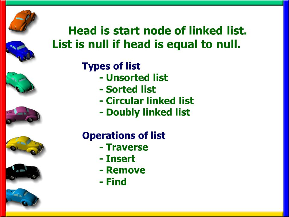 Head is start node of linked list.