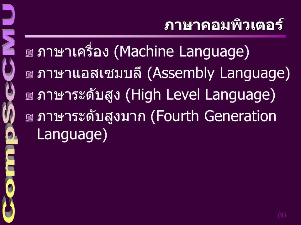 ภาษาเครื่อง (Machine Language) ภาษาแอสเซมบลี (Assembly Language)