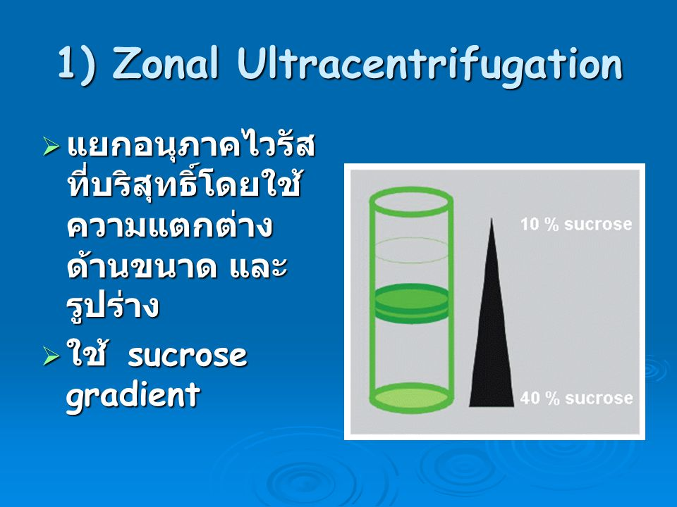 1) Zonal Ultracentrifugation