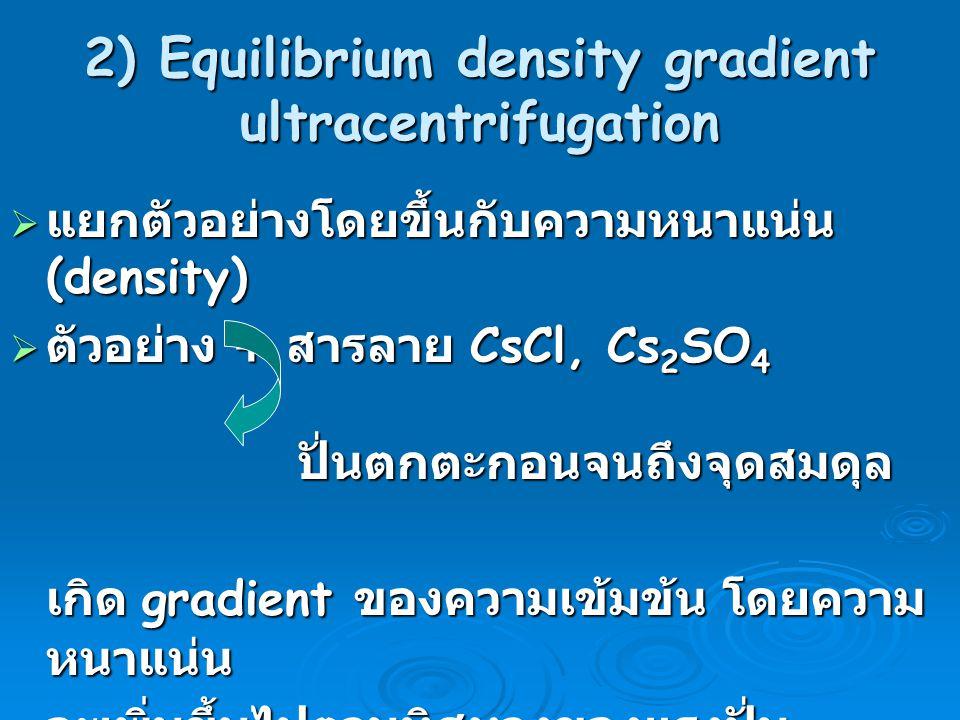2) Equilibrium density gradient ultracentrifugation