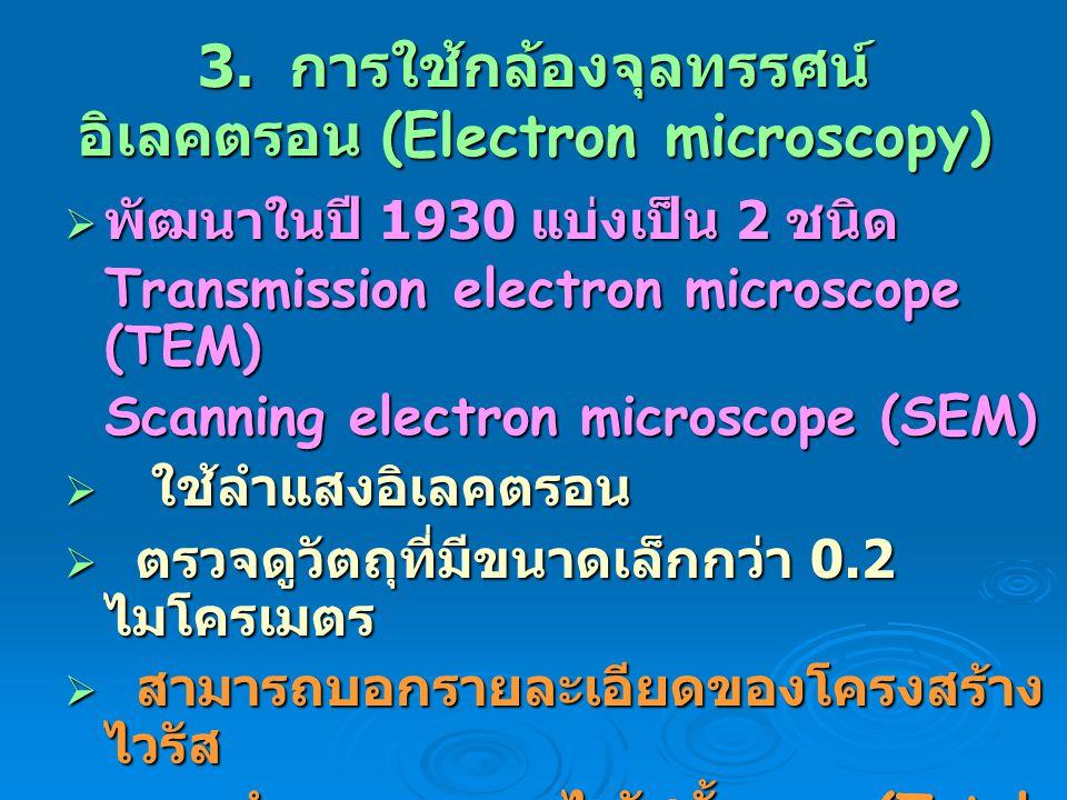 3. การใช้กล้องจุลทรรศน์อิเลคตรอน (Electron microscopy)