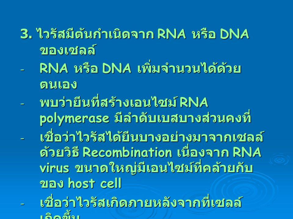 3. ไวรัสมีต้นกำเนิดจาก RNA หรือ DNA ของเซลล์