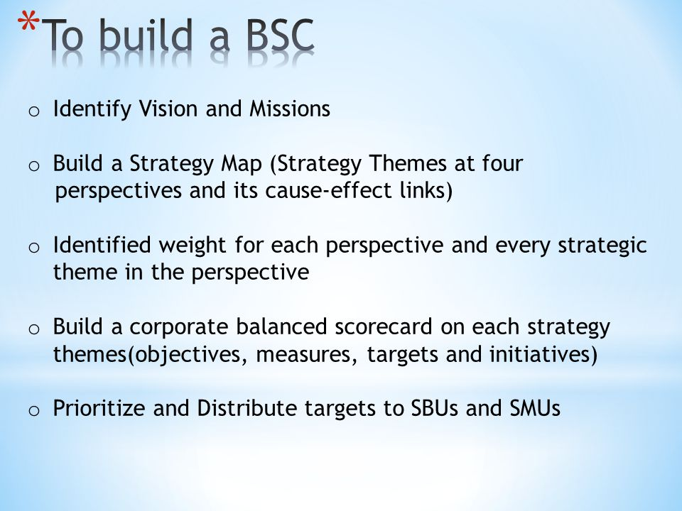 To build a BSC Identify Vision and Missions