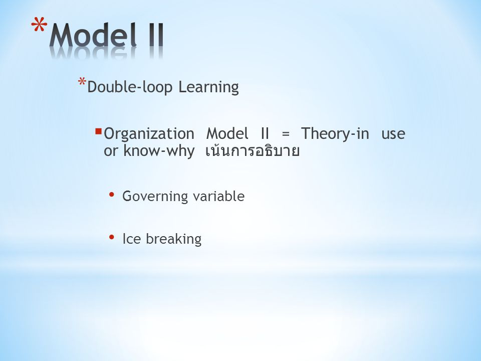 Model II Double-loop Learning