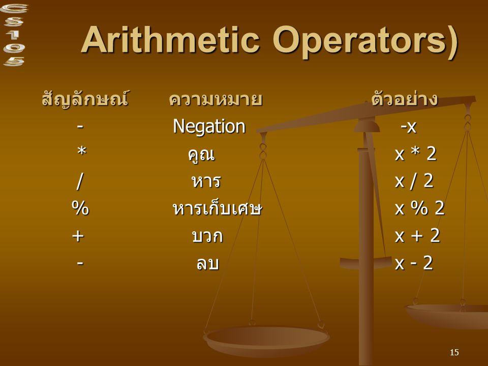 Arithmetic Operators)