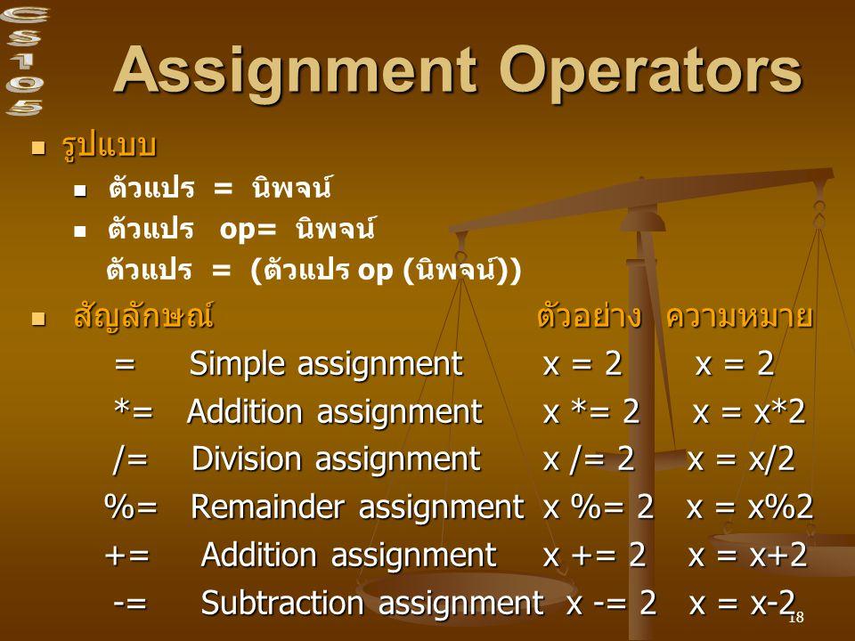 Assignment Operators รูปแบบ สัญลักษณ์ ตัวอย่าง ความหมาย