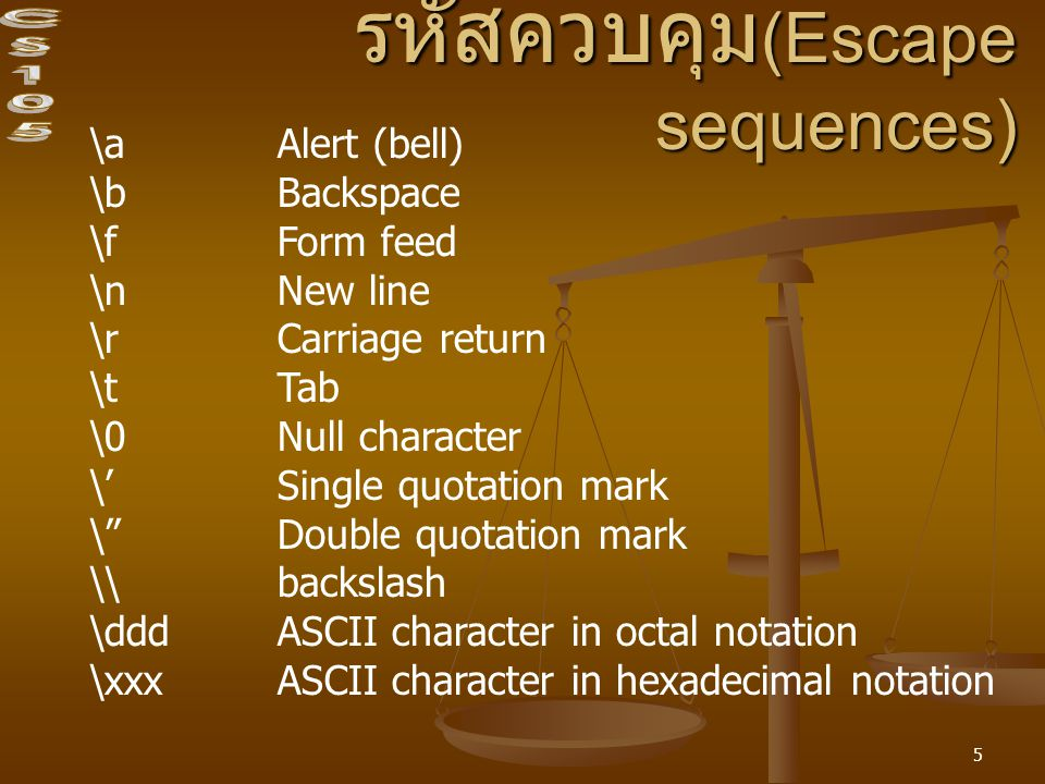 รหัสควบคุม(Escape sequences)