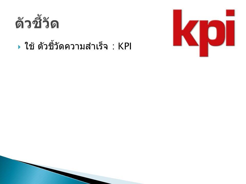 ตัวชี้วัด ใช้ ตัวชี้วัดความสำเร็จ : KPI
