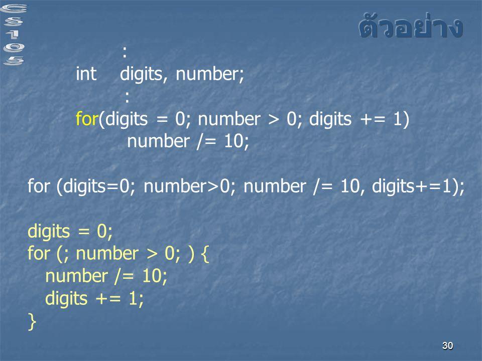 ตัวอย่าง : int digits, number;
