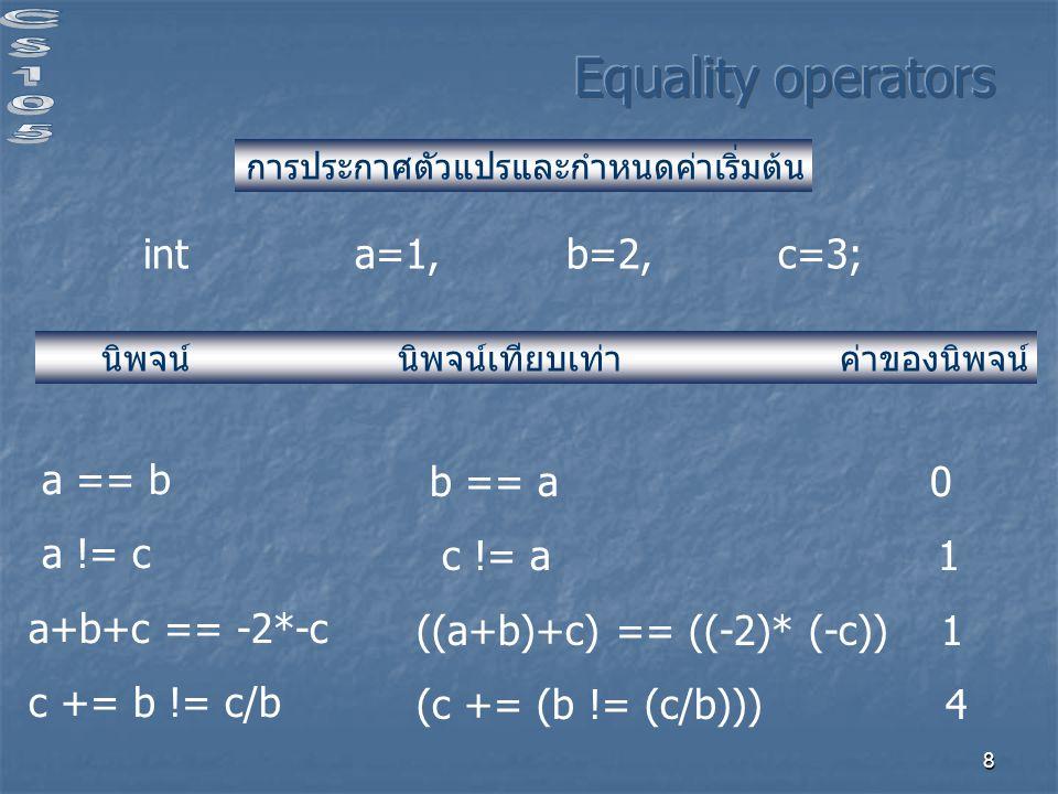 Equality operators int a=1, b=2, c=3; a == b b == a 0 a != c c != a 1