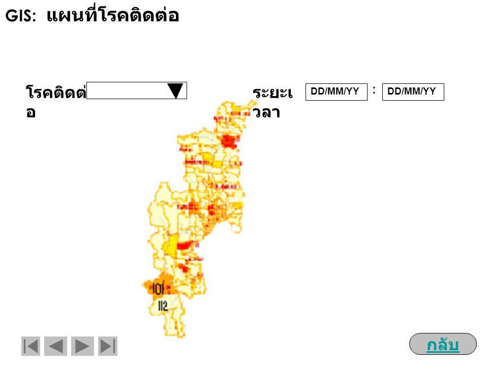 GIS: แผนที่โรคติดต่อ โรคติดต่อ ระยะเวลา : DD/MM/YY DD/MM/YY กลับ