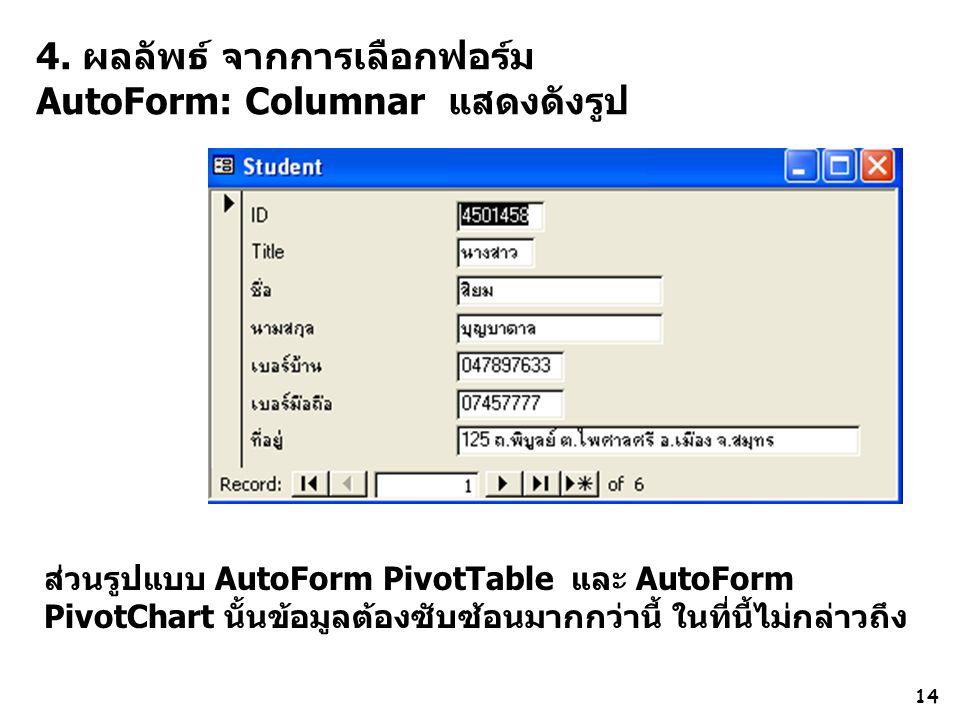 4. ผลลัพธ์ จากการเลือกฟอร์ม AutoForm: Columnar แสดงดังรูป