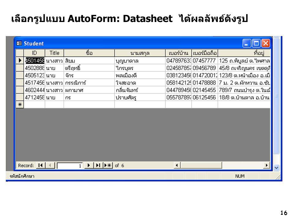 เลือกรูปแบบ AutoForm: Datasheet ได้ผลลัพธ์ดังรูป