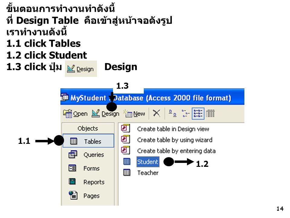 ขั้นตอนการทำงานทำดังนี้ ที่ Design Table คือเข้าสู่หน้าจอดังรูป