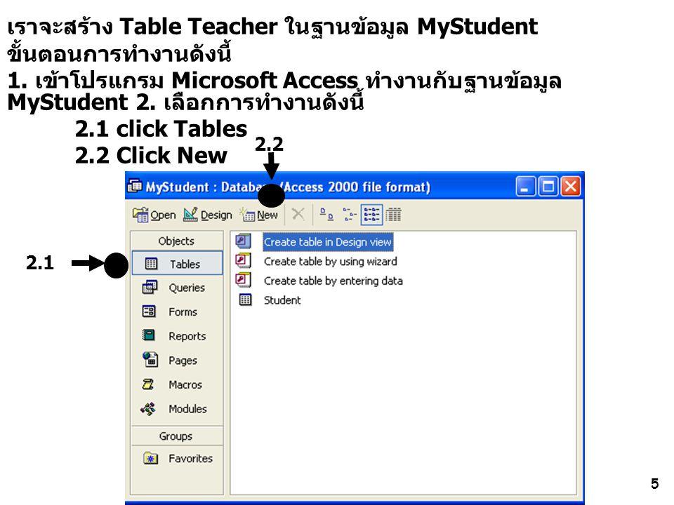 เราจะสร้าง Table Teacher ในฐานข้อมูล MyStudent ขั้นตอนการทำงานดังนี้