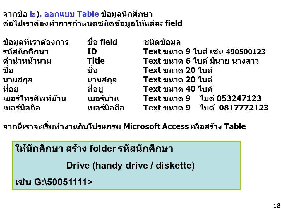 ให้นักศึกษา สร้าง folder รหัสนักศึกษา Drive (handy drive / diskette)