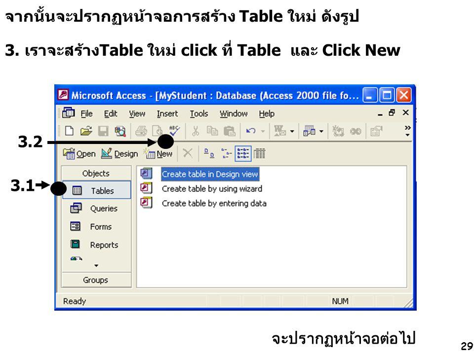 จากนั้นจะปรากฏหน้าจอการสร้าง Table ใหม่ ดังรูป