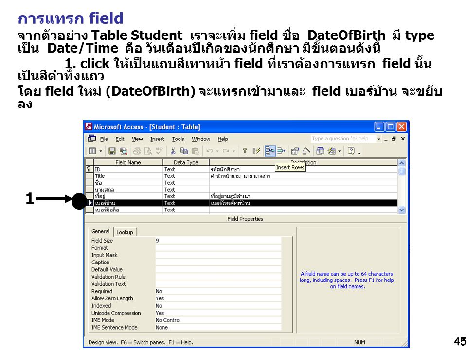 การแทรก field จากตัวอย่าง Table Student เราจะเพิ่ม field ชื่อ DateOfBirth มี type เป็น Date/Time คือ วันเดือนปีเกิดของนักศึกษา มีขั้นตอนดังนี้