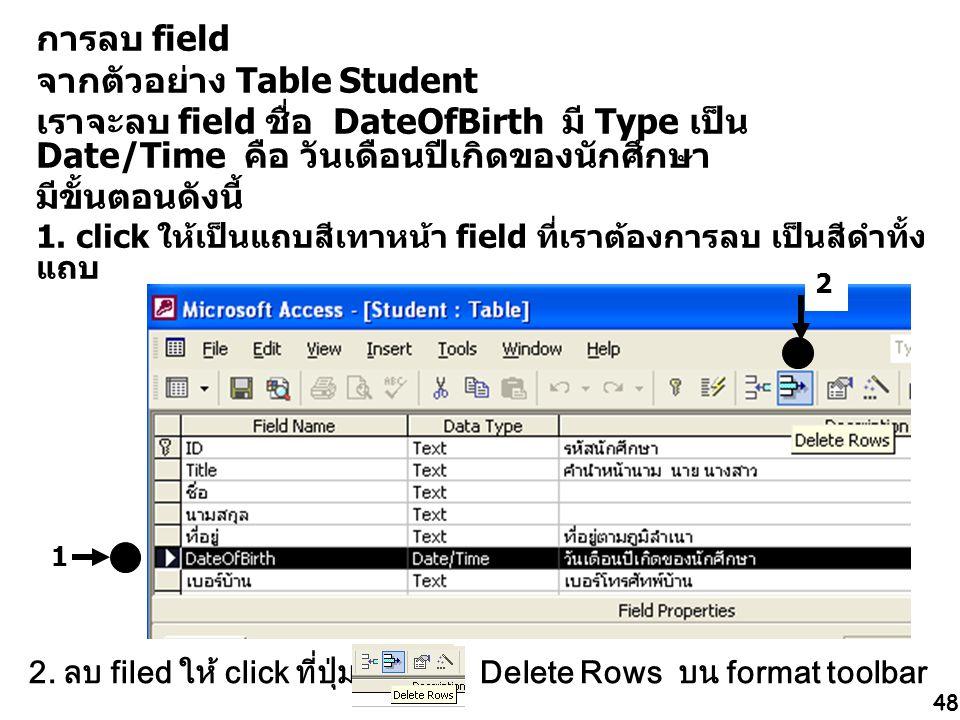 จากตัวอย่าง Table Student