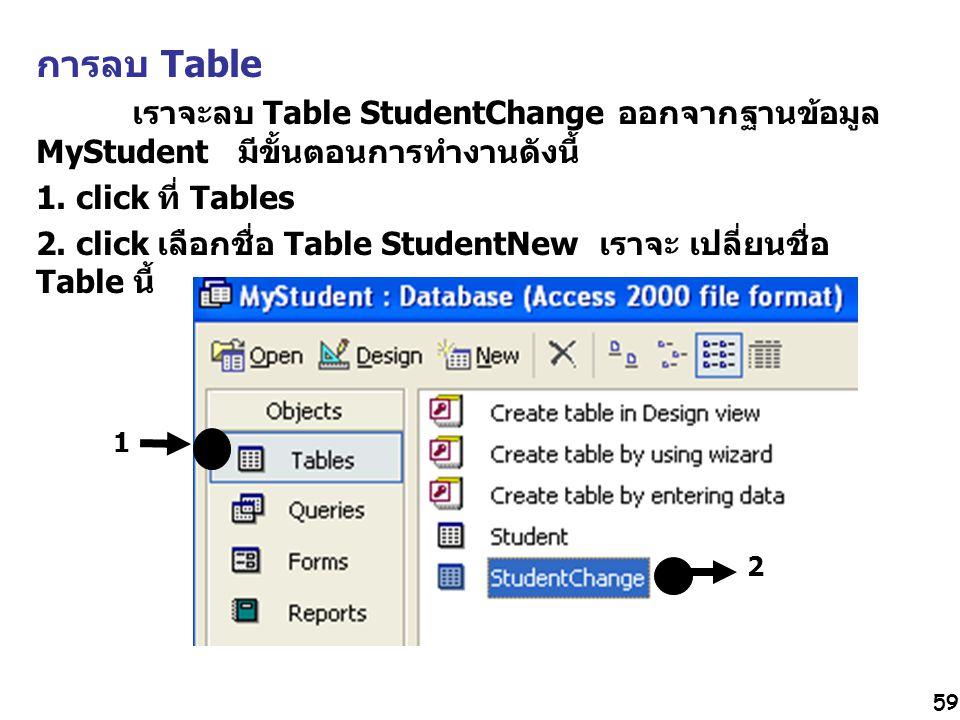 การลบ Table เราจะลบ Table StudentChange ออกจากฐานข้อมูล MyStudent มีขั้นตอนการทำงานดังนี้ 1. click ที่ Tables.