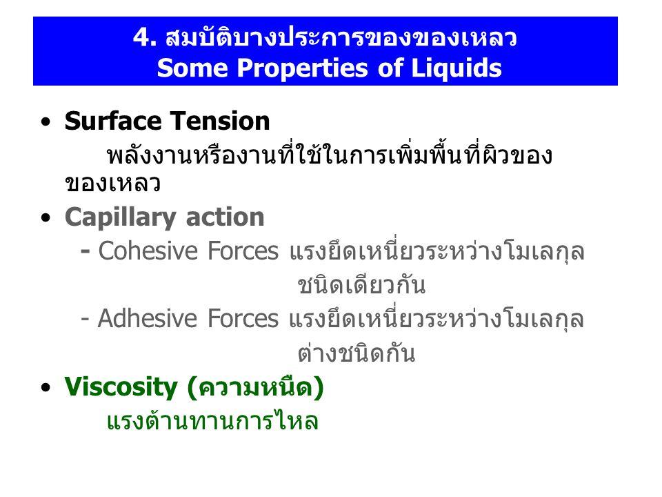 4. สมบัติบางประการของของเหลว Some Properties of Liquids